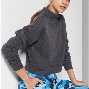 Wild Fable Charcoal Cropped Mock Neck Sweatshirt
